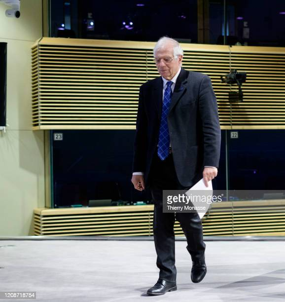 Commissioner for Foreign Affairs and Security Policy Vice President Josep Borrell is talking to media in the Berlaymont the EU Commission headquarter...