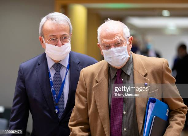 Commissioner for Foreign Affairs and Security Policy - Vice President Josep Borrell arrives for an EU Foreign Affairs Ministers meeting in the Europa...