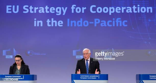 Commissioner for Foreign Affairs and Security Policy - Vice President Josep Borrell talks to media in the Berlaymont, the EU Commission headquarter...