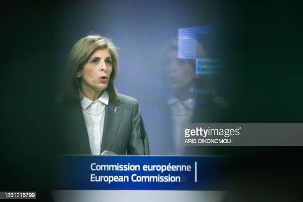 Commissioner for Health and Food Safety Stella Kyriakides gives a press conference on the HERA Incubator to anticipate the threat of the coronavirus...