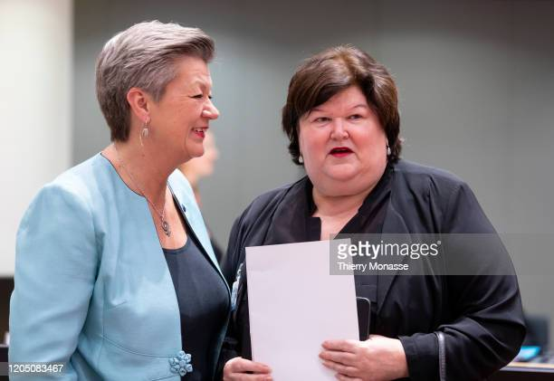 Commissioner for home affairs Ylva Johansson speaks with the Belgian Health Social Affairs Asylum Policy and Migration minister Maggie De Block prior...