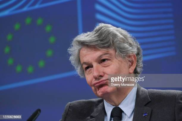 Commissioner for Internal Market Thierry Breton talks to media during a press conference following the weekly EU Commission meeting in the...