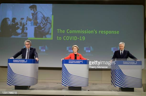 Commissioner for Internal Market Thierry Breton the President of the European Commission Ursula von der Leyen and the EU Commissioner for Justice...