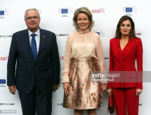 EU Commissioner for International Cooperation and Development Neven Mimica Queen Mathilde of Belgium and Queen Letizia of Spain pose as they arrive...