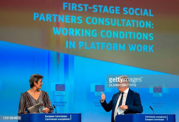 Commissioner for Jobs and Social Rights Nicolas Schmit and European Commission vice-president in charge Europe fit for the digital age Mrgrethe...