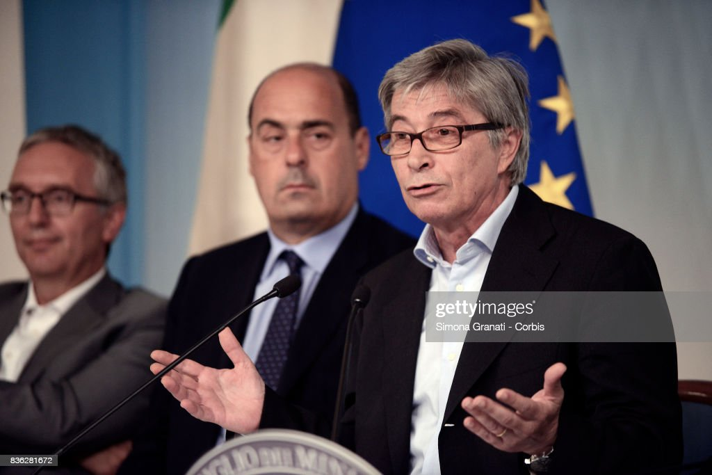 Commissioner for Reconstruction, Vasco Errani, and Presidents of affected regions Nicola Zingaretti (Lazio), Luca Ceriscioli (Marche) during a press conference at Palazzo Chigi on a year-long reconstruction of the first shakes, on August 21, 2017 in Rome, Italy.