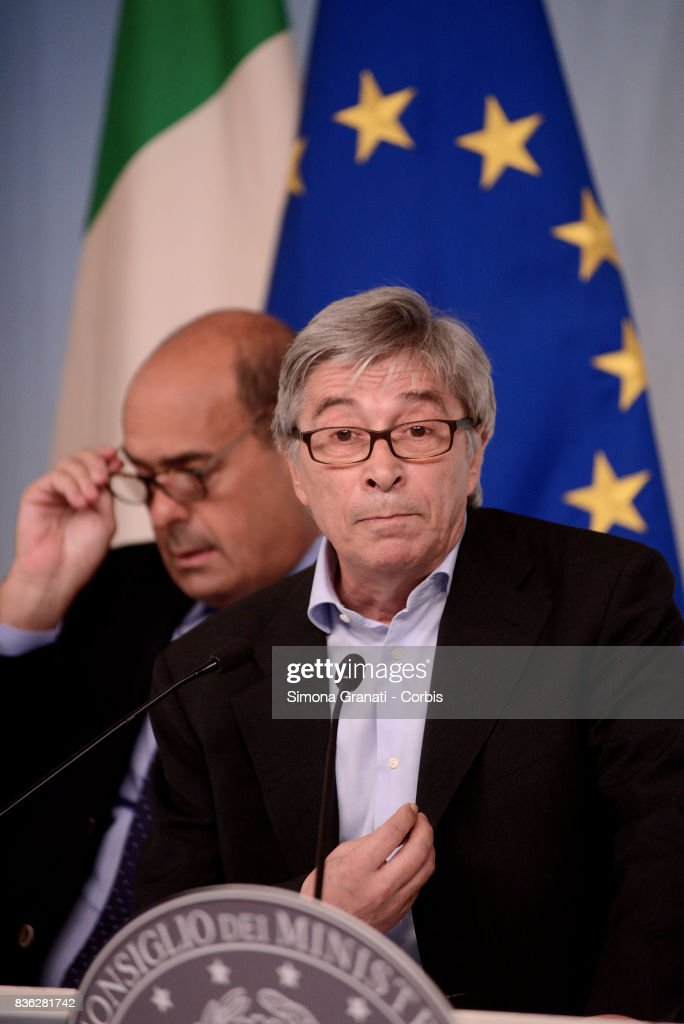 Commissioner for Reconstruction, Vasco Errani,during a press conference at Palazzo Chigi on a year-long reconstruction of the first shakes, on August 21, 2017 in Rome, Italy.
