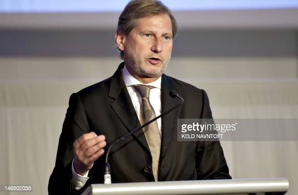 EU commissioner for Regional Policy Johannes Hahn speaks during the Baltic Development Forum summit on June 18 2012 in Copenhagen The event which...