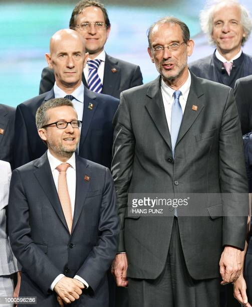 EU Commissioner for Research Science and Innovation Carlos Moedas and Austrian Federal Minister for Education Science and Research Heinz Fassmann...