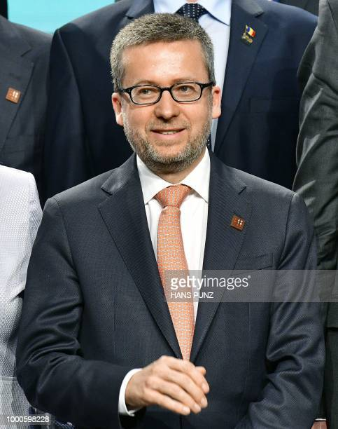 EU Commissioner for Research Science and Innovation Carlos Moedas poses during a group photo as part of an informal meeting of ministers of Research...