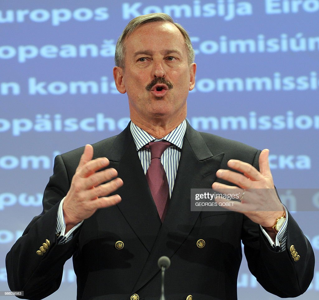EU commissioner for Transport Siim Kallas gives a statement on the aftermath of the volcanic ash cloud and aviation troubles on April 23,2010 at the EU headquarters in Brussels. European air traffic has returned to normal after a week of chaos caused by an ash cloud from an Icelandic volcano which spread across the continent, the EU's transport commissioner said.