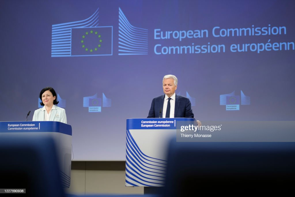 EU Commission Press Conference On Data Protection At International Level : News Photo