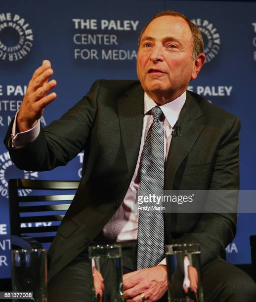 NHL commissioner Gary Bettman address the guests during the' History of the NHL The NHL 100 Years' Screening at Paley Center For Media on November 28...