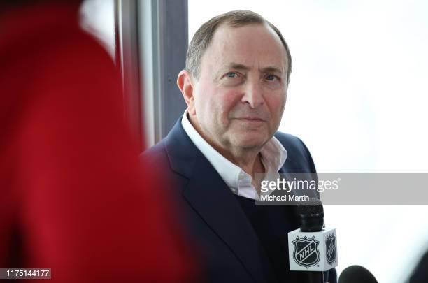 Commissioner Gary Bettman addresses the media after a press conference announcing the 2020 Navy Federal Credit Union NHL Stadium Series at Falcon...