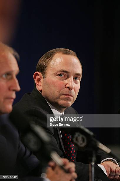 Commissioner Gary Bettman and Colin Campbell Executive Vice President and Director of Hockey Operations for the National Hockey League address the...