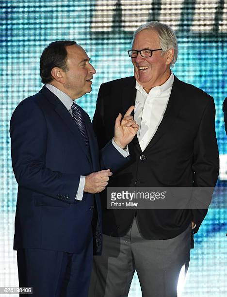 Commissioner Gary Bettman and majority owner Bill Foley talk before the Vegas Golden Knights was announced as the name for Foley's Las Vegas NHL...