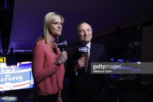 Commissioner Gary Bettman and NBC reporter Kathryn Tappen make an announcement about the 2018 NHL Winter Classic during the first intermission of...
