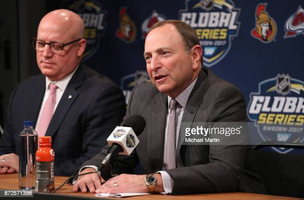 Commissioner Gary Bettman and NHL Deputy Commissioner Bill Daly and address the media at the Ericsson Globe on November 10 2017 in Stockholm Sweden