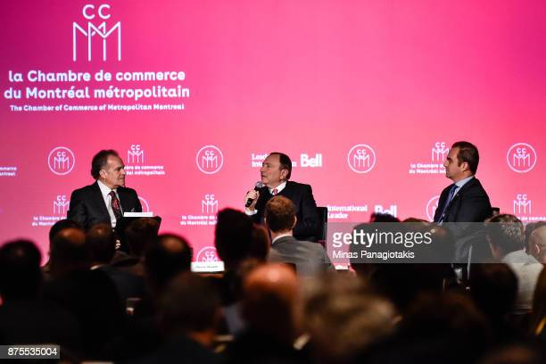 NHL commissioner Gary Bettman and owner of the Montreal Canadiens Geoff Molson take part in a discussion with RDS commentator Pierre Houde at the...