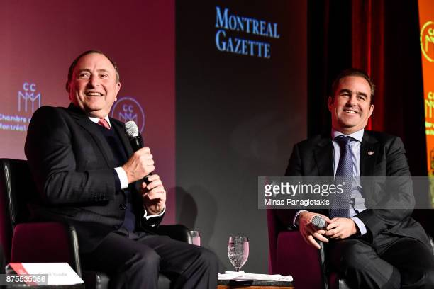 NHL commissioner Gary Bettman and owner of the Montreal Canadiens Geoff Molson take part in a discussion at the Chamber of Commerce of Metropolitan...