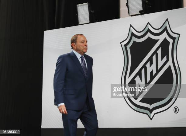 Commissioner Gary Bettman attends the first round of the 2018 NHL Draft at American Airlines Center on June 22 2018 in Dallas Texas