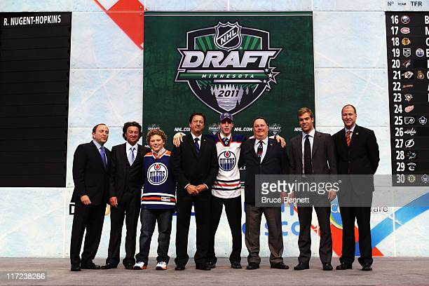 Commissioner Gary Bettman General Manager Steve Tambellini first overall pick Ryan NugentHopkins by the Edmonton Oilers Taylor Hall and President of...