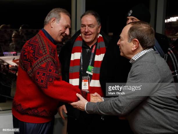 Commissioner Gary Bettman greets Guy Lafleur prior to the 2017 Scotiabank NHL 100 Classic between the Montreal Canadiens and Ottawa Senators at...