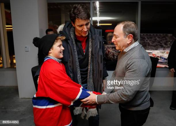 Commissioner Gary Bettman greets Prime Minister of Canada Justin Trudeau and his son Xavier Trudeau prior to the 2017 Scotiabank NHL 100 Classic...