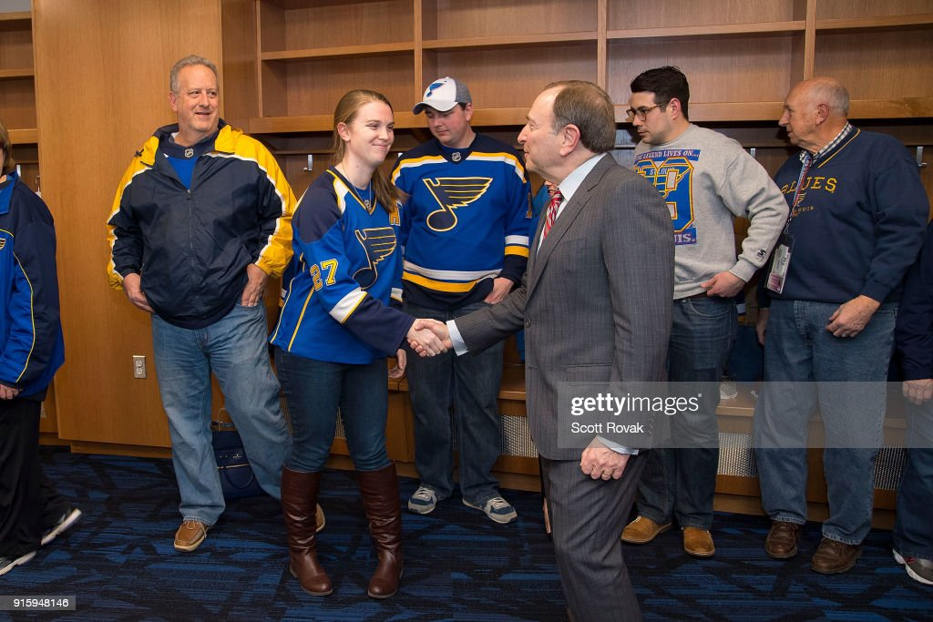 NHL Commissioner Gary Bettman greets season ticket holders before the game between the St. Louis Blues and the Colorado Avalanche at Scottrade Center on February 8, 2018 in St. Louis, Missouri.