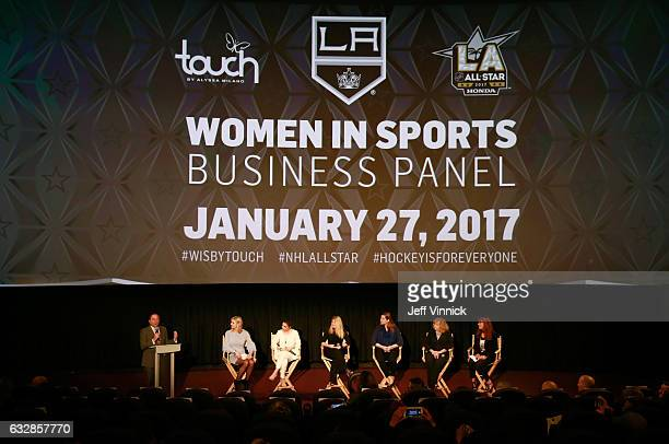NHL Commissioner Gary Bettman Kathryn Tappen host NBC Sports Alyssa Milano entrepreneur actress philanthropist founder Touch by Alyssa Milano Heidi...