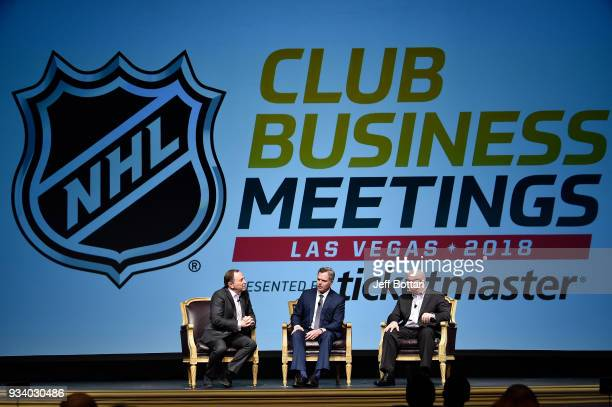 NHL Commissioner Gary Bettman MGM Resorts International Chairman and CEO Jim Murren and NHL Deputy Commissioner Bill Daly interact onstage during the...