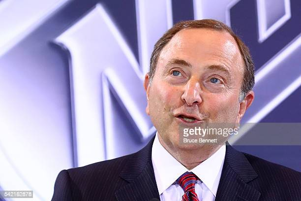 Commissioner Gary Bettman of the National Hockey League addresses the media during the Board Of Governors Press Conference prior to the 2016 NHL...