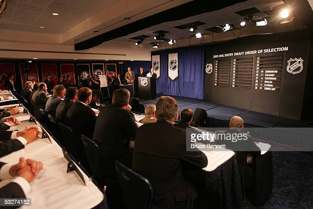 Commissioner Gary Bettman of the National Hockey League presides over the NHL draft lottery at the Sheraton New York Hotel and Towers July 22 2005 in...