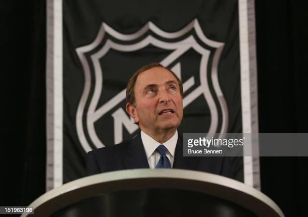 Commissioner Gary Bettman of the National Hockey League speaks to the media at Crowne Plaza Times Square on September 13 2012 in New York City