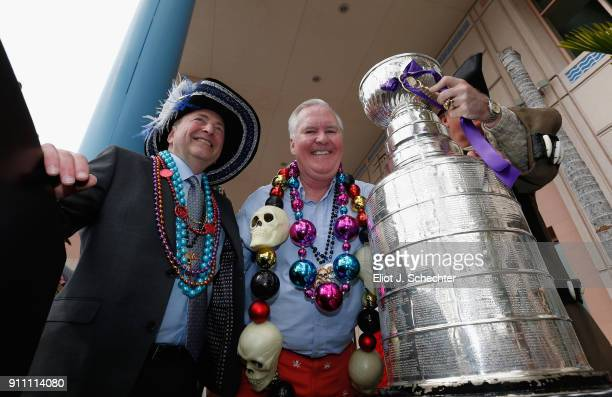 NHL commissioner Gary Bettman poses with the Mayor of Tampa Bob Buckhorn and the Stanley Cup at the Key Ceremony as part of the Gasparilla Festival...