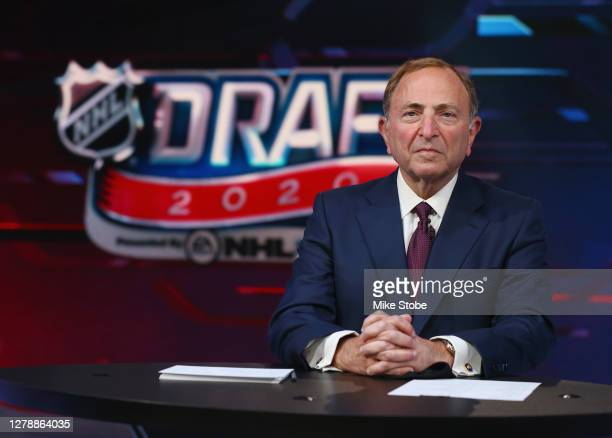 Commissioner Gary Bettman prepares for the first round of the 2020 National Hockey League Draft at the NHL Network Studio on October 06, 2020 in...