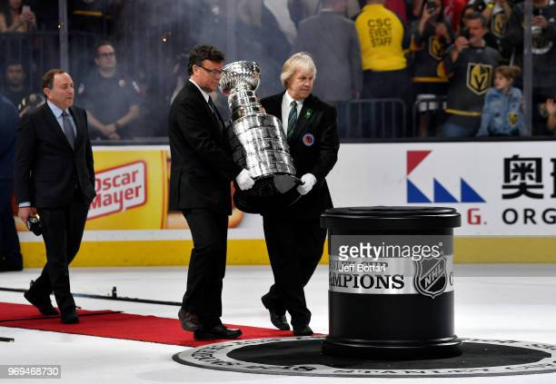 Commissioner Gary Bettman prepares to present the Stanley Cup to the Washington Capitals after their victory over the Vegas Golden Knights in Game...