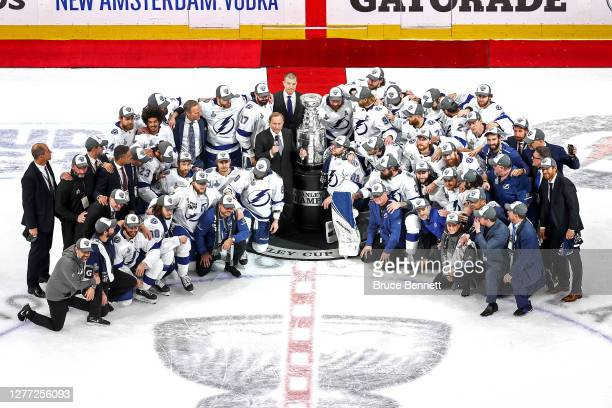 Commissioner Gary Bettman presents the Tampa Bay Lightning with the Stanley Cup following their series-winning victory over the Dallas Stars in Game...