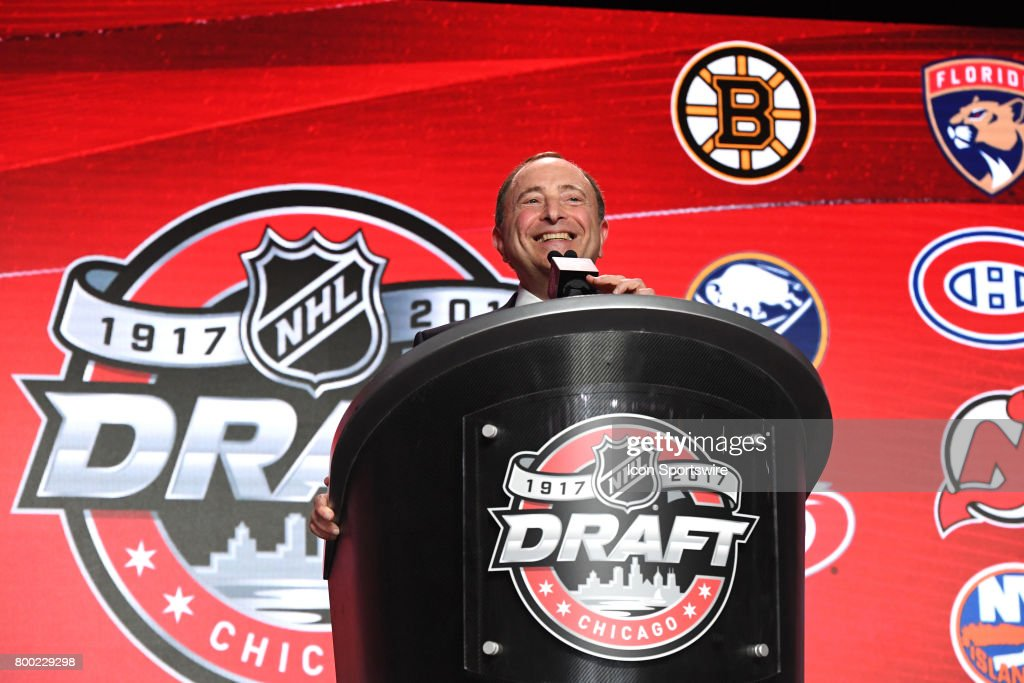 NHL commissioner Gary Bettman smiles prior to the first round of the 2017 NHL Draft on June 23, 2017, at the United Center, in Chicago, IL.
