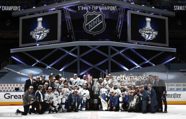 Commissioner Gary Bettman speaks before presenting the Stanley Cup to captain Steven Stamkos of the Tampa Bay Lightning after Game Six of the NHL...