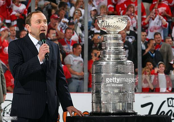 NHL commissioner Gary Bettman speaks before presenting the Stanley Cup to the Pittsburgh Penguins after defeating the Detroit Red Wings in Game Seven...