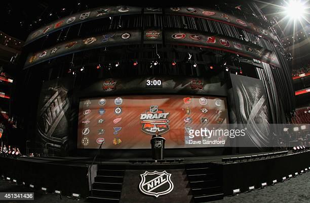 NHL commissioner Gary Bettman speaks before the start of the 2014 NHL Entry Draft at Wells Fargo Center on June 27 2014 in Philadelphia Pennsylvania