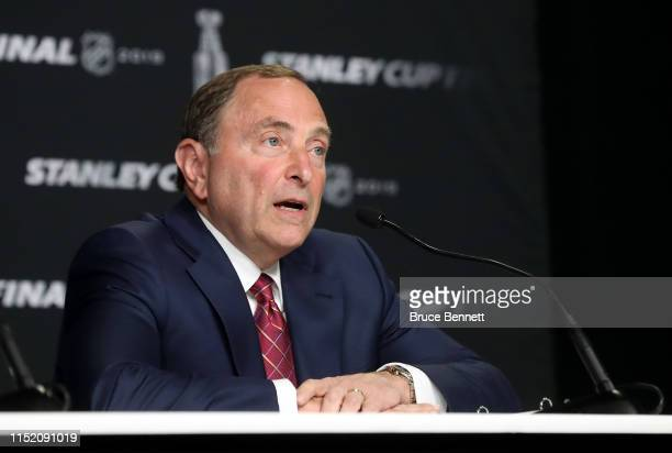 Commissioner Gary Bettman speaks during a press conference prior to Game One of the 2019 NHL Stanley Cup Final between the Boston Bruins and the St...
