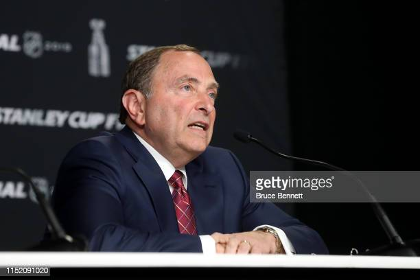 Commissioner Gary Bettman speaks during a press conference prior to Game One of the 2019 NHL Stanley Cup Final between the Boston Bruins and the St....