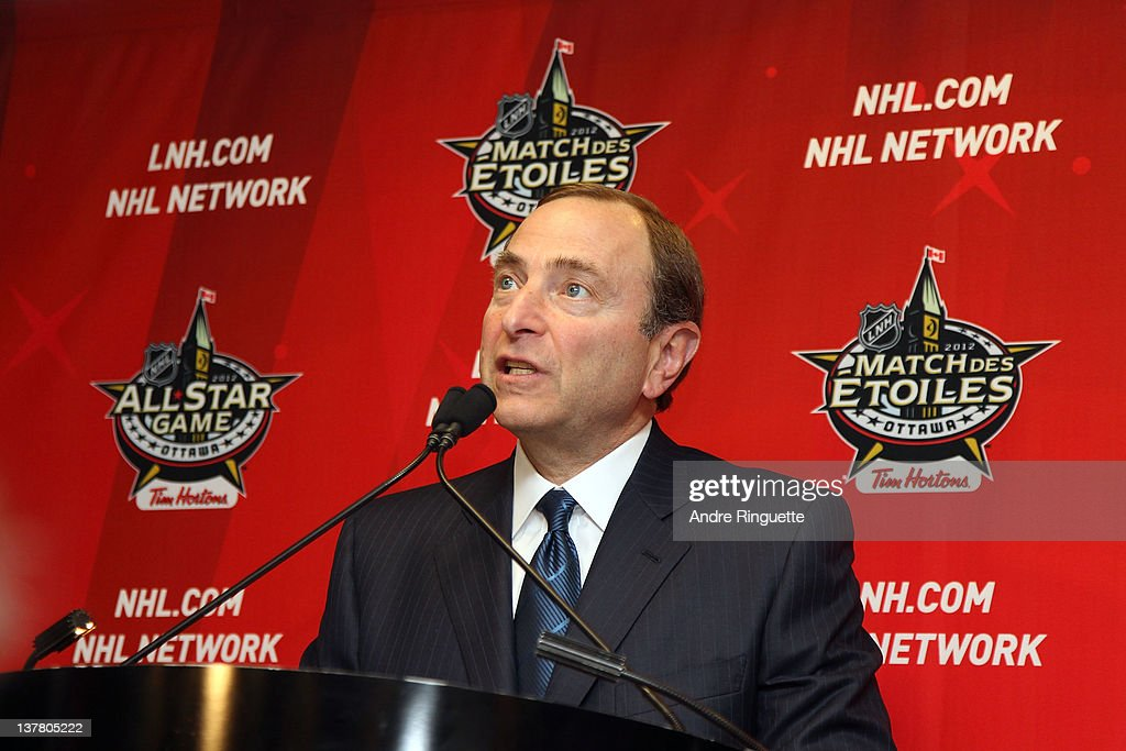 Commissioner Gary Bettman speaks from the podium at the unveiling of the NHL All-Star Legacy Playroom at Children's Hospital of Eastern Ontario on January 27, 2012 in Ottawa, Canada.