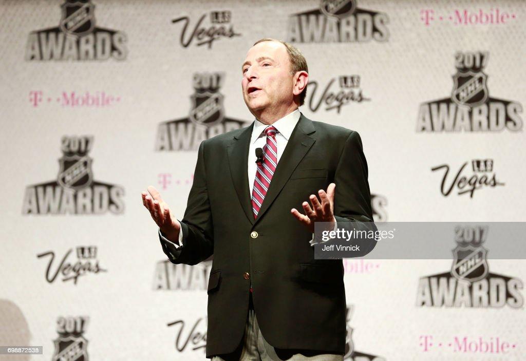 Commissioner Gary Bettman speaks onstage during the 2017 NHL Humanitarian Awards on June 20, 2017 in Las Vegas, Nevada.