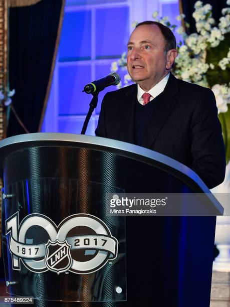 NHL commissioner Gary Bettman speaks to guests during the NHL Centennial 100 Celebration at the Windsor Hotel on November 17 2017 in Montreal Quebec...