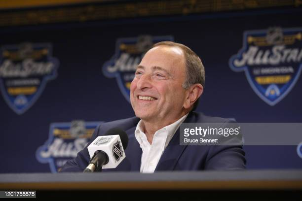 Commissioner Gary Bettman speaks to the media prior to the 2020 NHL AllStar Skills Competition at Enterprise Center on January 24 2020 in St Louis...