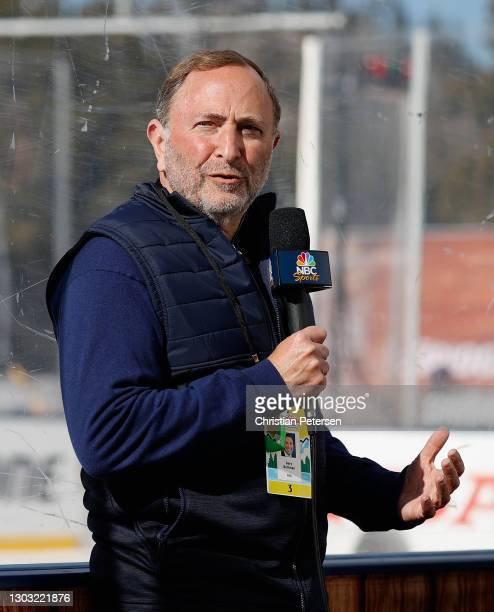 Commissioner Gary Bettman speaks with NBC Sports during a delay due to ice conditions for the 'NHL Outdoors At Lake Tahoe' at the Edgewood Tahoe...