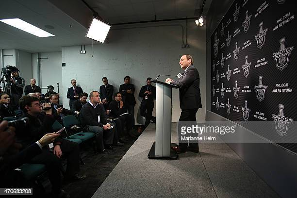 Commissioner Gary Bettman speaks with the media prior to Game Three of the Western Conference Quarterfinals between the Anaheim Ducks and Winnipeg...